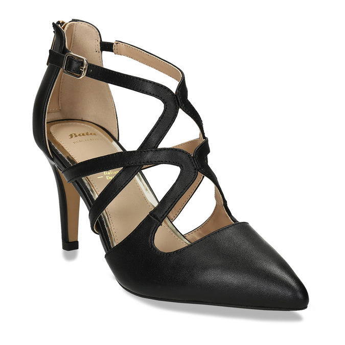 Kožené lodičky na vysokém podpatku bata, černá, 726-6604 - 13