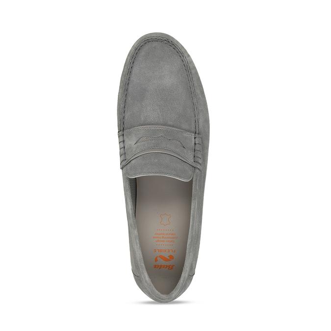 Pánské šedé kožené mokasíny flexible, šedá, 853-2620 - 17