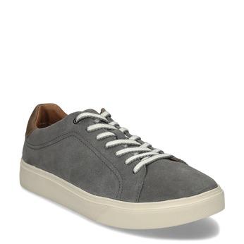 Šedé pánské kožené tenisky bata-light, šedá, 843-2636 - 13