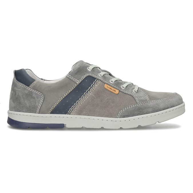 Šedé pánské kožené ležérní tenisky bata, šedá, 846-2603 - 19