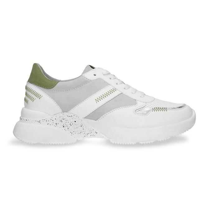 Dámské bílé tenisky se zelenými detaily bata, bílá, 546-1606 - 19