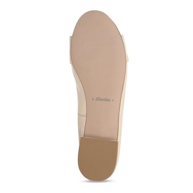Dámské kožené béžové baleríny se sponou bata, béžová, 524-8601 - 18