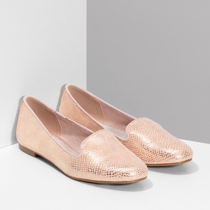 Metalické dámské Loafers mokasíny bata, růžová, 521-5620 - 26