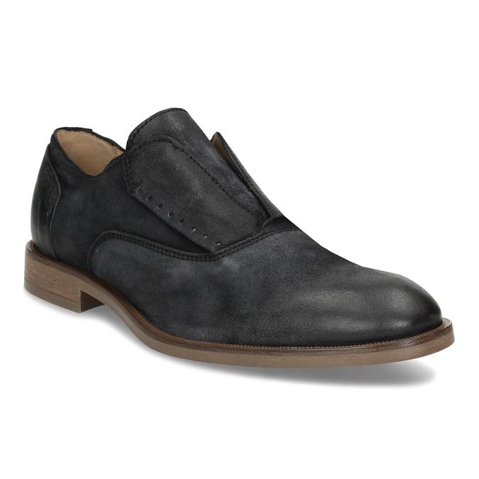 Černé pánské kožené polobotky bez šněrování bata, černá, 826-6602 - 13