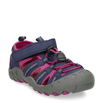 Dětské modré sandály s růžovými detaily mini-b, modrá, 461-9706 - 13