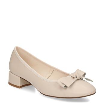 Béžové dámské kožené lodičky na nízkém podpatku bata, béžová, 524-8627 - 13