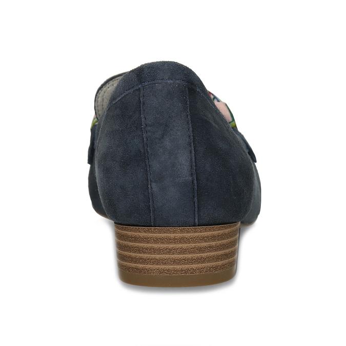Dámské mokasíny z broušené kůže se stuhou bata, modrá, 513-9602 - 15