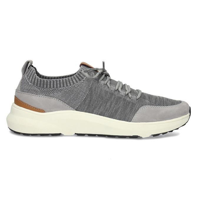Pánské šedé tenisky z úpletu bata-light, šedá, 849-2637 - 19