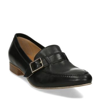 Černé kožené dámské mokasíny se sponou bata, černá, 514-6605 - 13