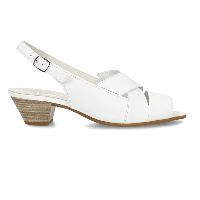 Bílé kožené dámské sandály pro širší chodidla gabor, bílá, 664-1104 - 19