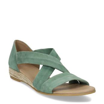 Dámské zelené kožené sandály na klínku bata, zelená, 563-7600 - 13
