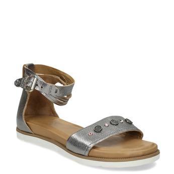 Stříbrné dámské kožené sandály s kamínky bata, stříbrná, 564-1614 - 13