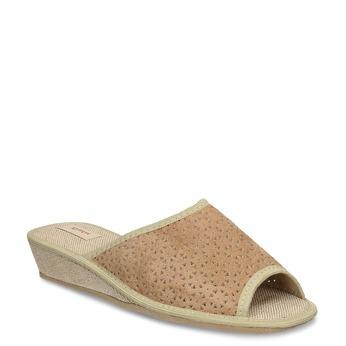Béžové dámské domácí pantofle bata, béžová, 679-8607 - 13