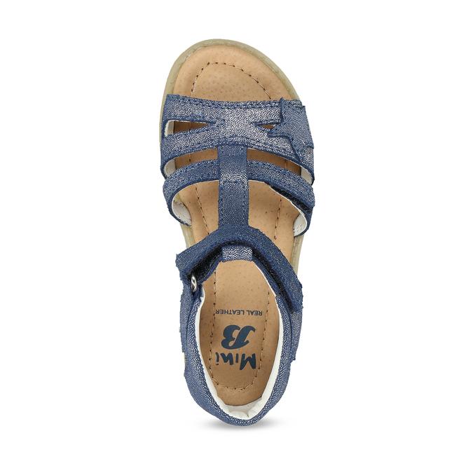 Modré dětské kožené sandály na suchý zip mini-b, modrá, 263-9602 - 17