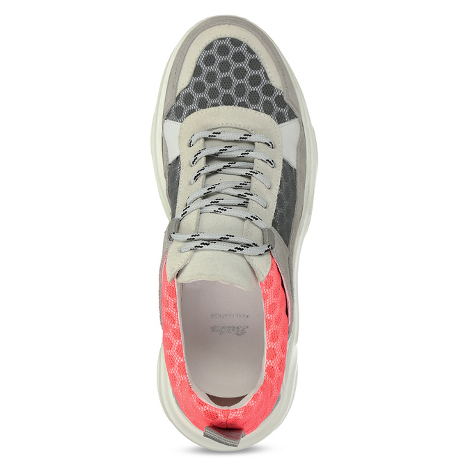Šedé kožené tenisky s perforací bata, šedá, 543-2601 - 17