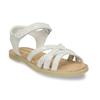 Dětské stříbrné kožené sandály mini-b, bílá, 364-1602 - 13