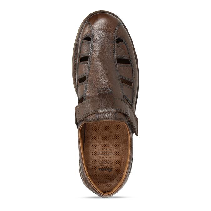 Hnědé kožené letní sandály pánské comfit, hnědá, 856-4761 - 17