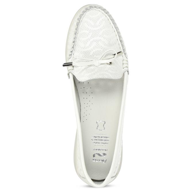 Bílé dámské kožené mokasíny s prošitím flexible, bílá, 514-1602 - 17