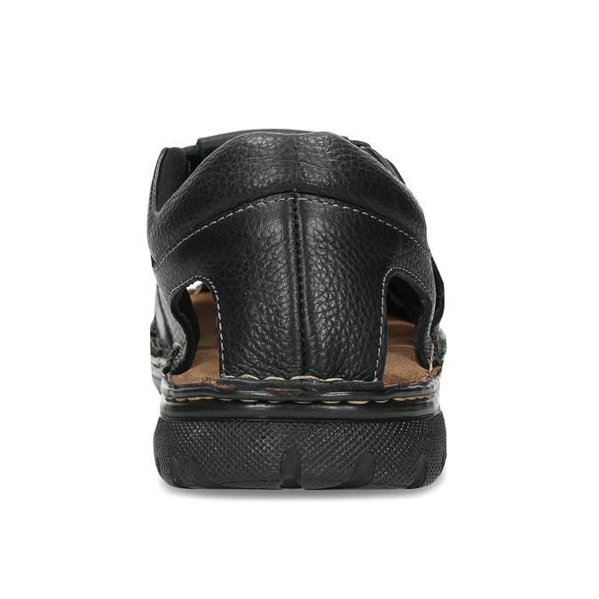 Černé pánské kožené sandále se zavřenou špičkou bata, černá, 864-6633 - 15