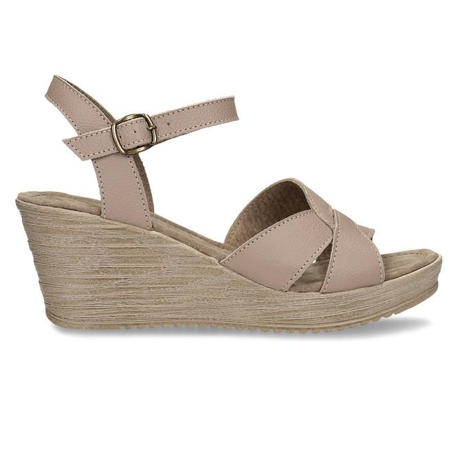 Dámské kožené sandály na klínovém podpatku bata, béžová, 664-8608 - 19