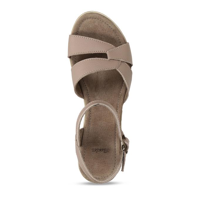 Dámské kožené sandály na klínovém podpatku bata, béžová, 664-8608 - 17