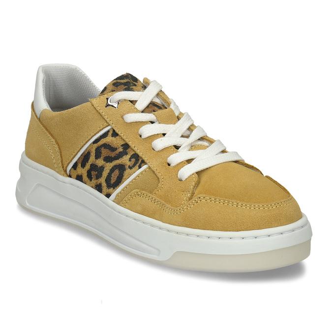 Žluté dívčí kožené tenisky s leopardím vzorem bullboxer, žlutá, 423-8602 - 13