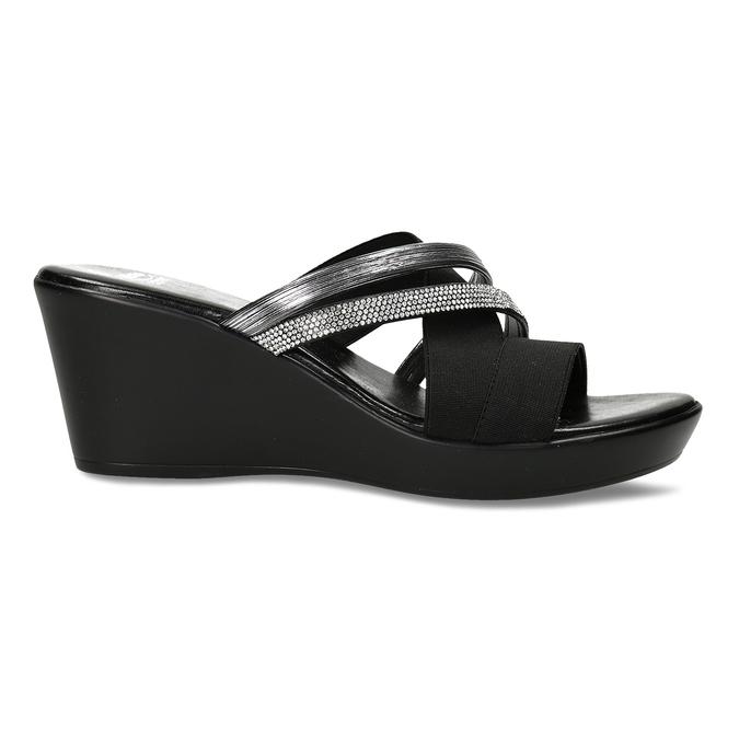 Dámské černé pantofle na platformě comfit, černá, 661-6630 - 19
