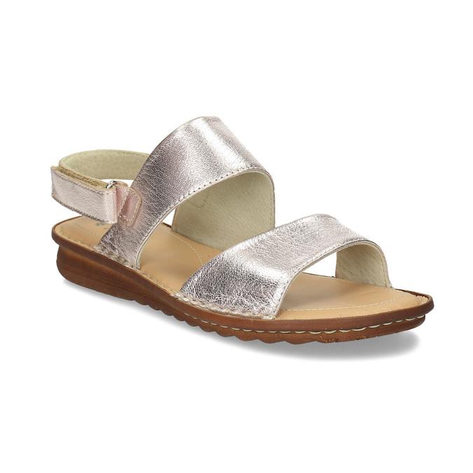 Zlaté dámské kožené sandály comfit, zlatá, 565-8601 - 13