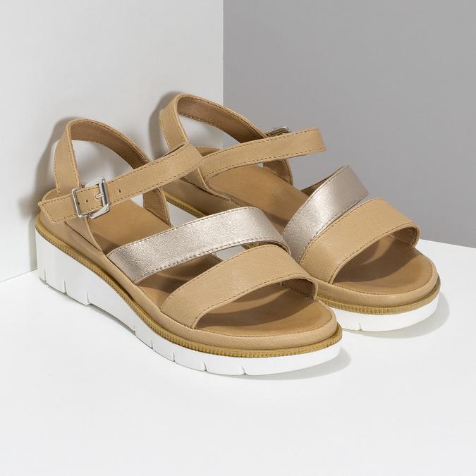 Béžové dámské kožené sandály na platformě bata, béžová, 564-8603 - 26