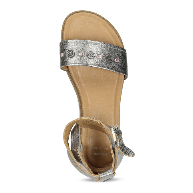 Stříbrné dámské kožené sandály s kamínky bata, stříbrná, 564-1614 - 17