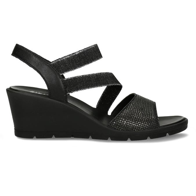 Černé sandály na klínovém podpatku comfit, černá, 666-6606 - 19