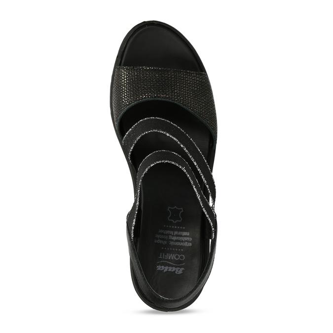Černé sandály na klínovém podpatku comfit, černá, 666-6606 - 17