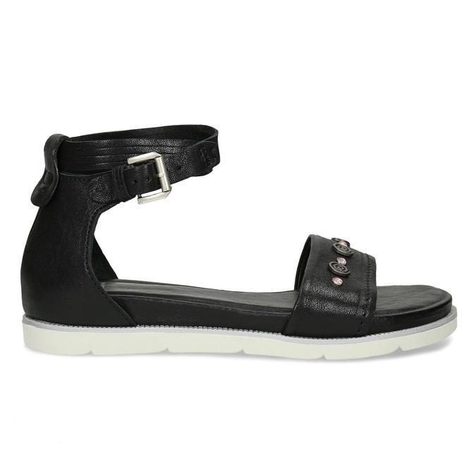 Černé dámské kožené sandály s kamínky bata, černá, 564-6614 - 19
