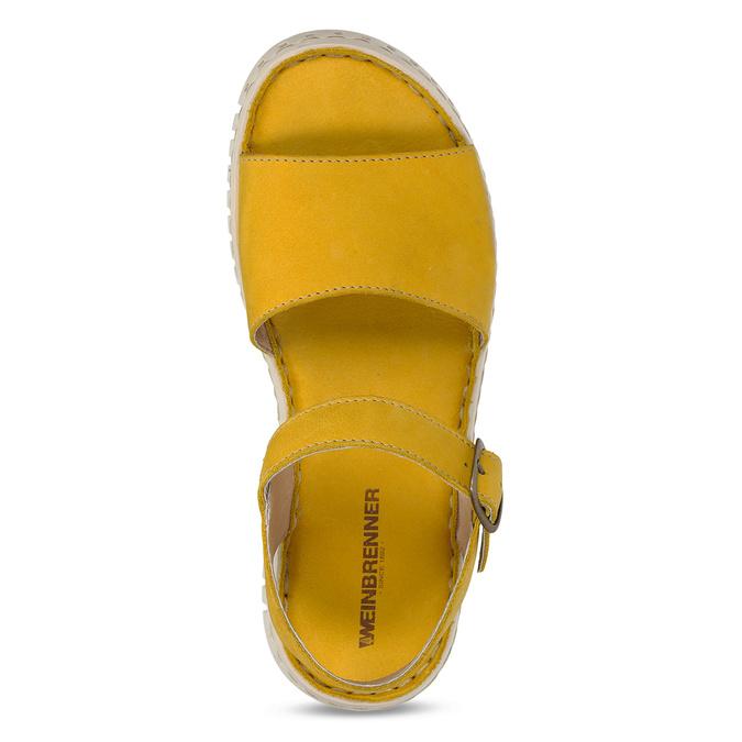 Žluté dámské kožené sandály s flexibilní podešví weinbrenner, žlutá, 566-8623 - 17