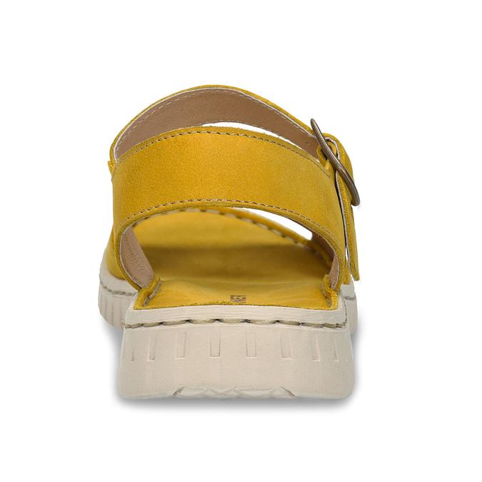 Žluté dámské kožené sandály s flexibilní podešví weinbrenner, žlutá, 566-8623 - 15