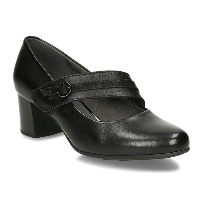 Černé kožené lodičky s páskem přes nárt bata, černá, 624-6629 - 13