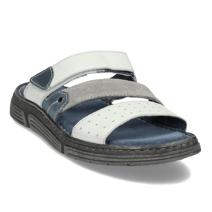 Bílé pánské kožené pantofle bata, bílá, 866-1659 - 13