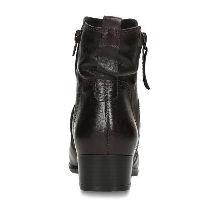 Dámská hnědá kožená kotníková obuv na zip bata, hnědá, 594-4692 - 15