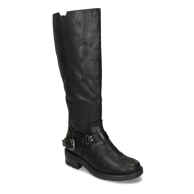 ČERNÉ DÁMSKÉ KOZAČKY S VÝRAZNOU PŘEZKOU bata, černá, 599-6606 - 13