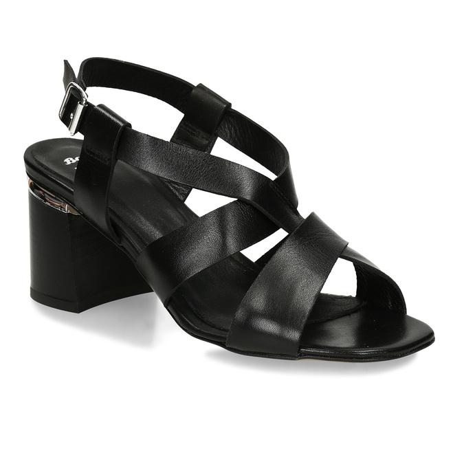 Kožené sandály v černé barvě na vysokém podpatku bata, černá, 764-6605 - 13