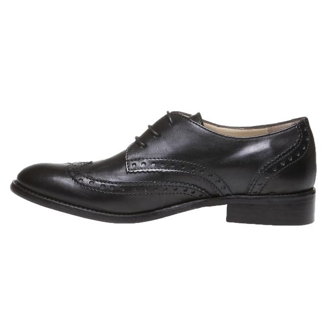 Kožené polobotky s klasickým zdobením bata, černá, 2019-524-6184 - 15
