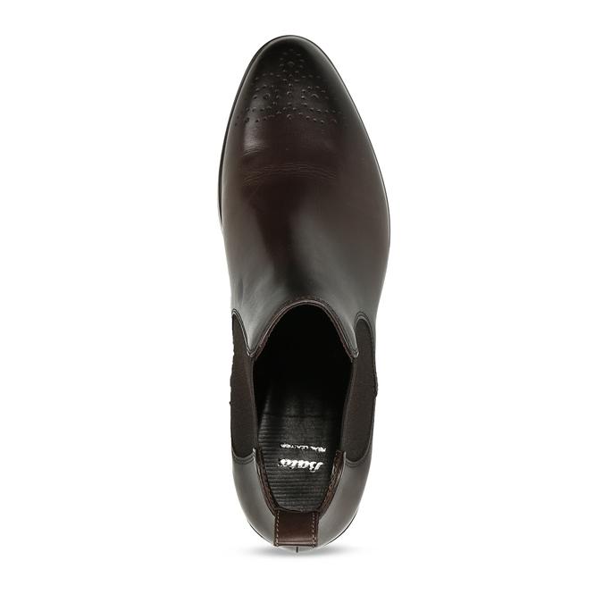Dámské Chelsea z tmavé kůže s perforací na špičce bata, hnědá, 594-4623 - 17