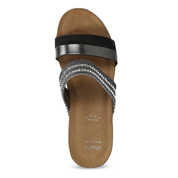 Šedé dámské kožené pantofle na platformě bata, černá, 766-6604 - 17