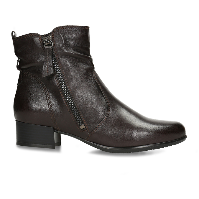 Dámská hnědá kožená kotníková obuv na zip bata, hnědá, 594-4692 - 19
