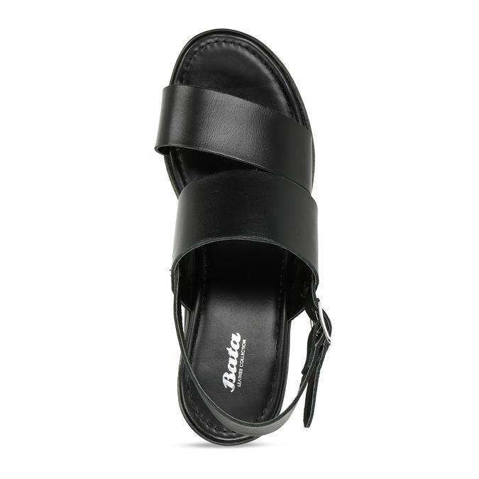 Dámské kožené černé sandály na platformě bata, černá, 764-6611 - 17