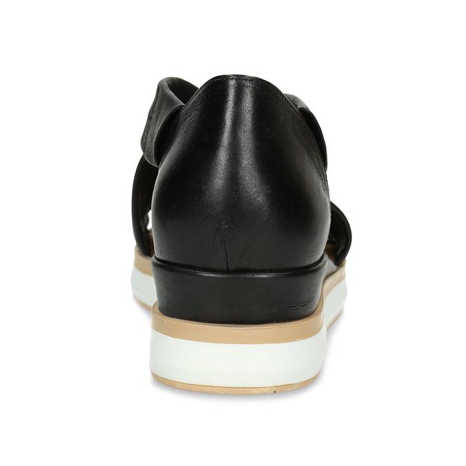 Dámské kožené sandály na silnější podešvi v černé barvě bata, černá, 664-6616 - 15