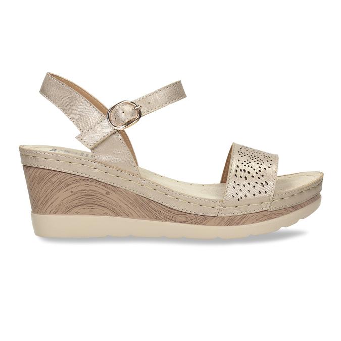 Zlaté dámské sandály na platformě comfit, zlatá, 661-8633 - 19