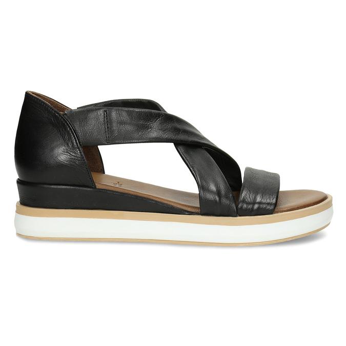 Dámské kožené sandály na silnější podešvi v černé barvě bata, černá, 664-6616 - 19