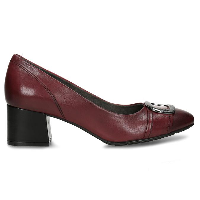 Vínové lodičky z kůže s výraznou přezkou bata, červená, 624-5628 - 19