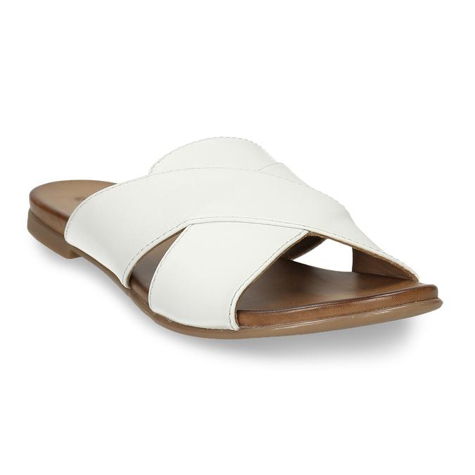 Bílé kožené nazouváky s překříženými pásky bata, bílá, 564-1613 - 13